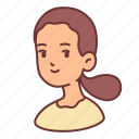 avatar, female, girl, people, ponytail, user, woman icon
