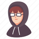 avatar, glasses, hacker, male, man, people, programmer icon