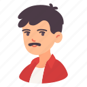 avatar, male, man, mustache, people, user, woman icon