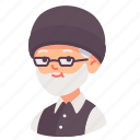people, man, avatar, beard, old, grandfather, glasses icon