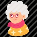 grandmother, avatar, old, woman, elderly, glasses