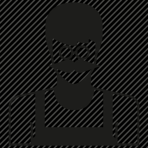 avatar, character, mustache, person, profile, uniform, worker icon