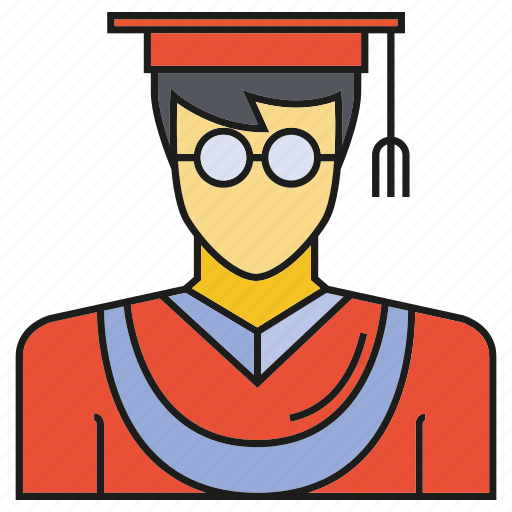 avatar, face, graduation, human, people, person, student icon