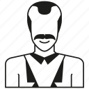 avatar, character, mustache, people, person, profile, worker icon