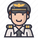 avatars, captain, character, male, man, pilot, profession icon