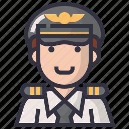 avatars, captain, character, male, man, pilot, profession icon