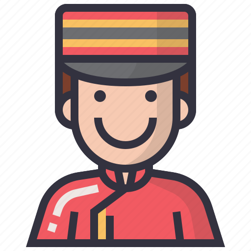 avatars, bellboy, character, man, people, profession, user icon