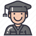 avatars, character, degree, man, people, profession, student icon