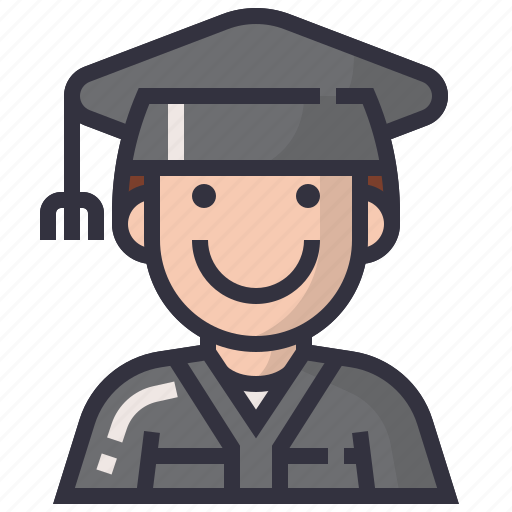 avatars, character, degree, man, people, profession, student icon