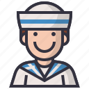 avatars, character, man, naval, profession, sailor, user icon