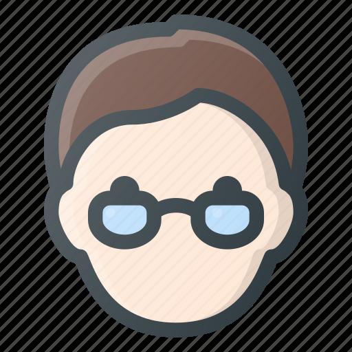Geek, head, glases, avatar, people icon