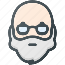 avatar, beard, glasses, head, man, old, people icon