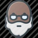 avatar, beard, glasses, head, man, old, people icon