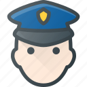 avatar, cop, head, man, people, police icon