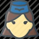 avatar, fly, head, lady, people, stewardess icon