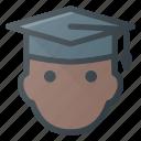 avatar, graduate, graduation, hat, head, people, stydent icon