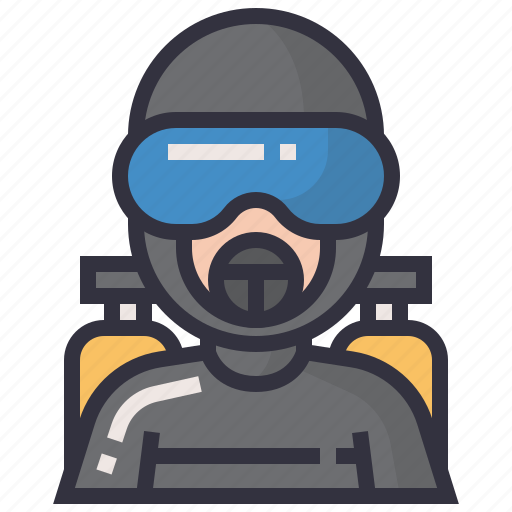 avatars, character, diving, male, man, person, profession icon