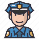 avatars, character, justice, man, people, police, profession icon