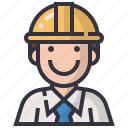 avatars, character, construction, engineer, man, profession, user icon
