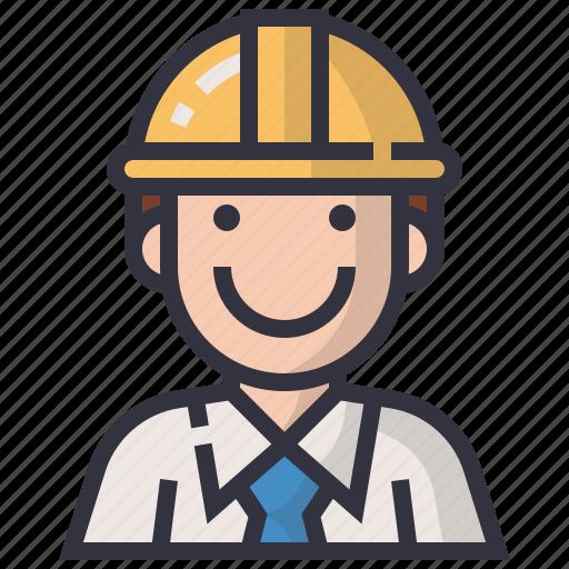 avatars, character, construction, engineer, man, profession, user icon