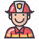 avatars, character, firefighter, male, man, profession, user icon