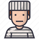 avatars, character, man, people, prison, profession, user icon