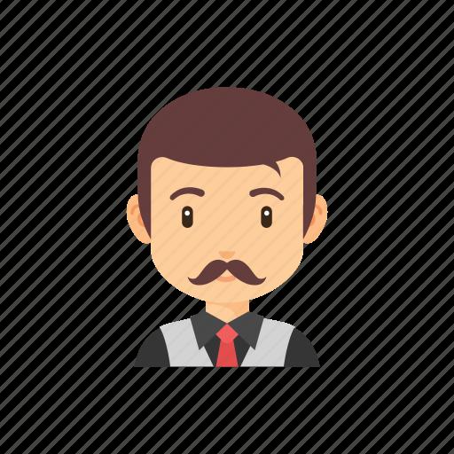 avatar, businessman, mustache, occupation, people icon