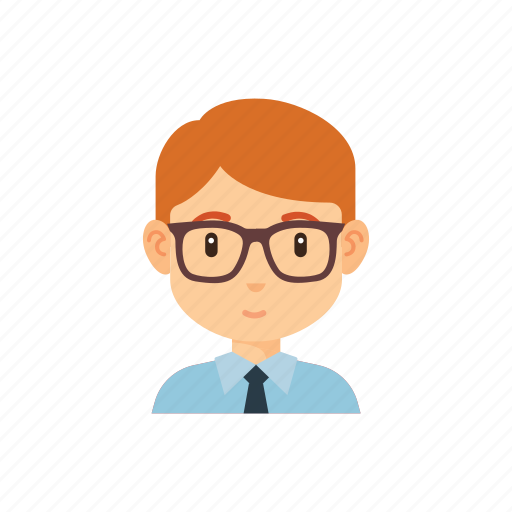 avatar, glasses, man, occupation, office, people, worker icon