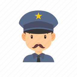 avatar, man, mustache, occupation, people, police, star icon