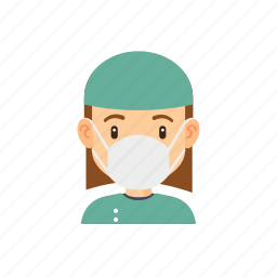 avatar, hospital, occupation, people, surgeon, woman icon