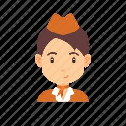 avatar, girl, occupation, people, plane, stewardess, woman icon