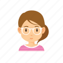 avatar, cute, glasses, people, woman icon