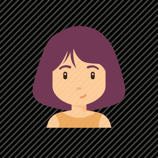 avatar, beautiful, cute, girl, people, short hair, woman icon