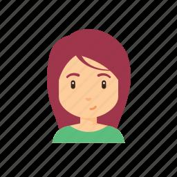 avatar, beautiful, cute, long hair, people, woman icon