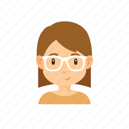 avatar, girl, glasses, people, short hair, woman icon