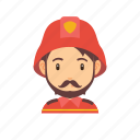 beard, fire, firefighter, man, mustache, occupation, people icon