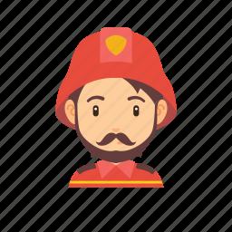 beard, fire, firefighter, man, mustache, occupation, people icon