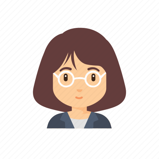 glasses, lecturer, occupation, people, woman icon