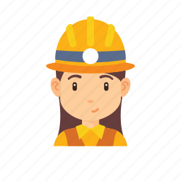 avatar, mine worker, occupation, people, woman, worker icon