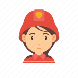 fighter, fire, firefighter, girl, occupation, people, woman icon