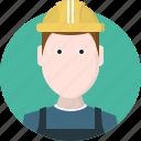 avatar, construction, hard hat, safety, safety helmet, uniform, worker icon
