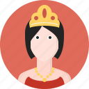 crown, female, medieval, monarchy, queen, royal, woman icon