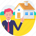 businessman, home, house, insurance, man, people icon