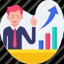 analytics, explain, graph, growth, presentation, report icon