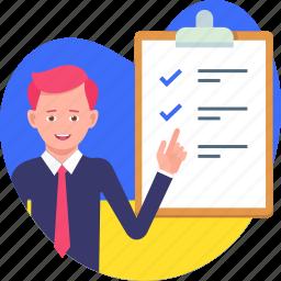 businessman, check mark, checklist, list, paper, write
