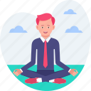 business, corporation, health, man, tranquility, yoga icon
