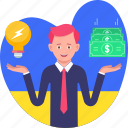 business, earnings, idea, income, make, man, money icon