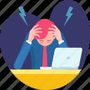 despair, distraught, headache, problem, stress, tired, work