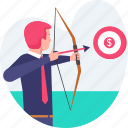 aim, archery, business, dartboard, goal, man, shooting, target icon
