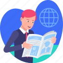 business, character, market, news, newspaper, reading, reading newspaper icon